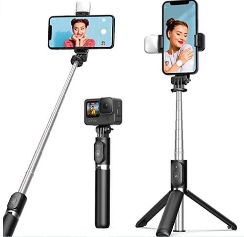 Selfie Stick Stativ mit Licht, ARTOFUL 3 in 1...