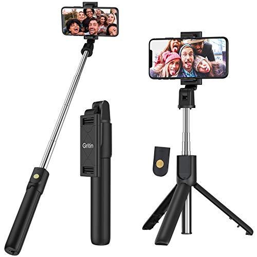 Bluetooth Selfie Stick Stativ, Gritin 3 in 1...
